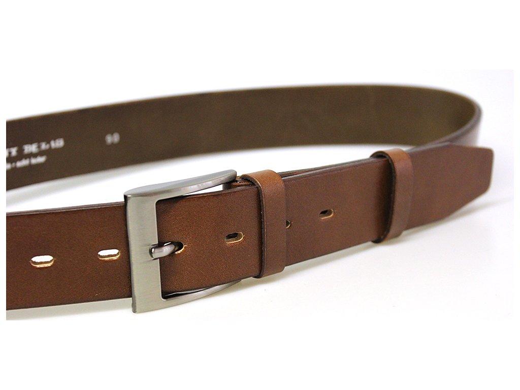 pánský hnědý kožený opasek český výrobek Kubát 60042 22-48