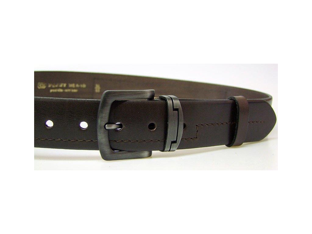 pánský hnědý kožený opasek český výrobek Kubát 60032- 9-4-40