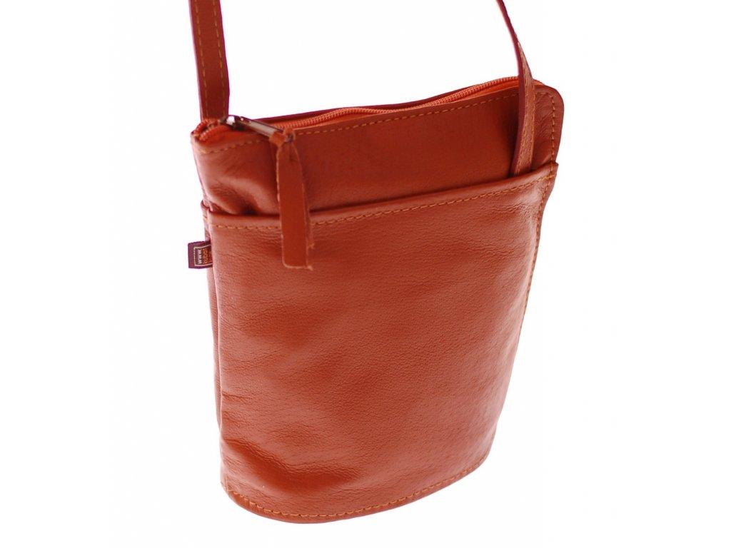 malá rezavohnědá kožená kabelka český výrobek 14554