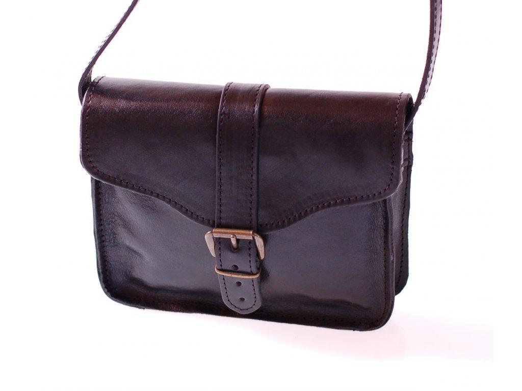 menší černá kožená kabelka dámská crossbody český výrobek Kubát 10712