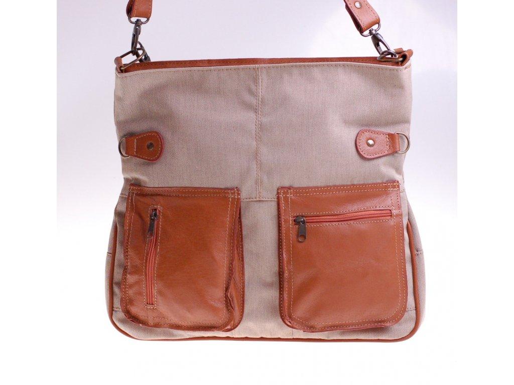 dámská kožená kabelka rezavá s režným plátnem český výrobek Kubát 552496