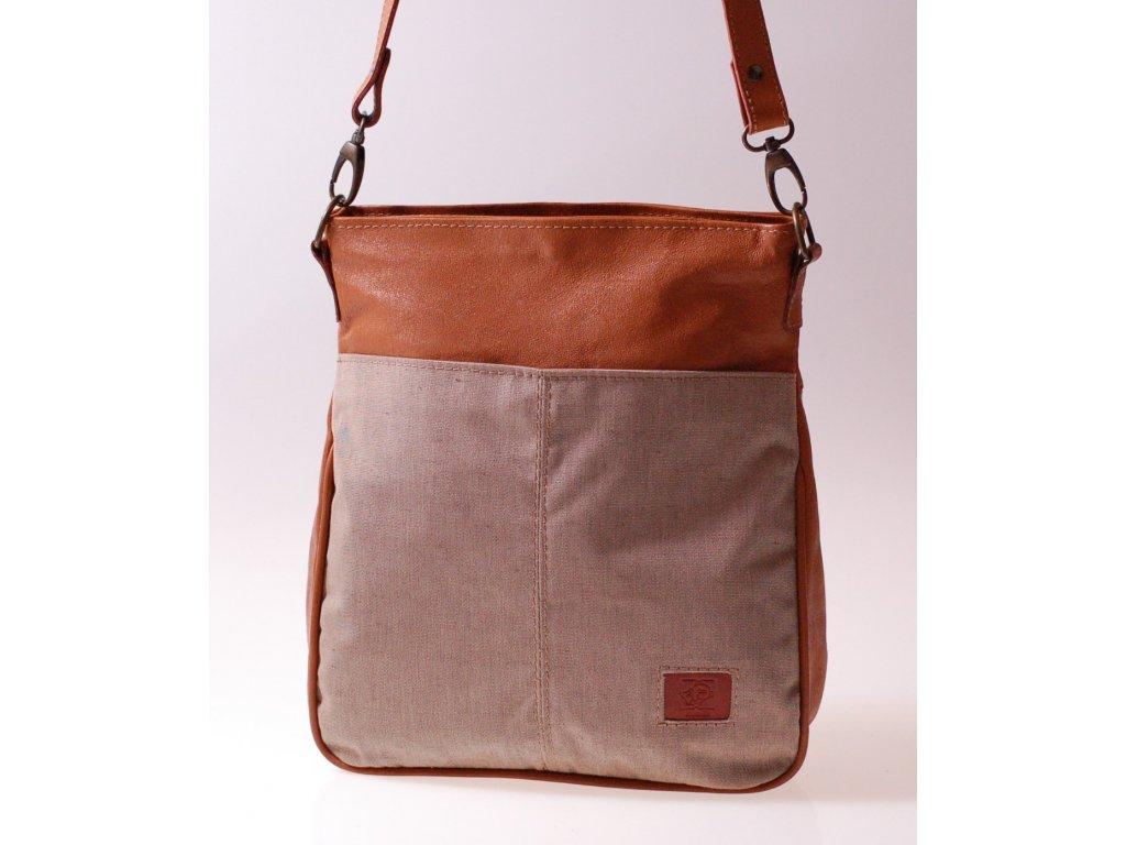 dámská kabelka kombinovaná koňaková a béžová Amálka 576496