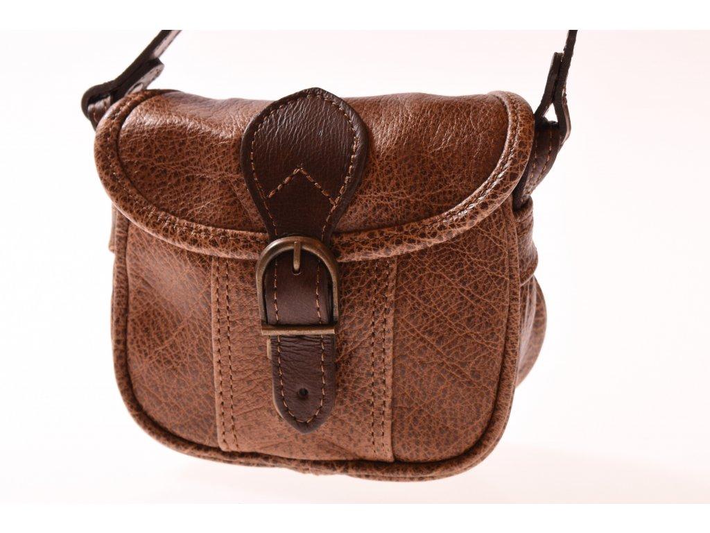 malá hnědá kožená kabelka dámská crossbody český výrobek Kubát 101992