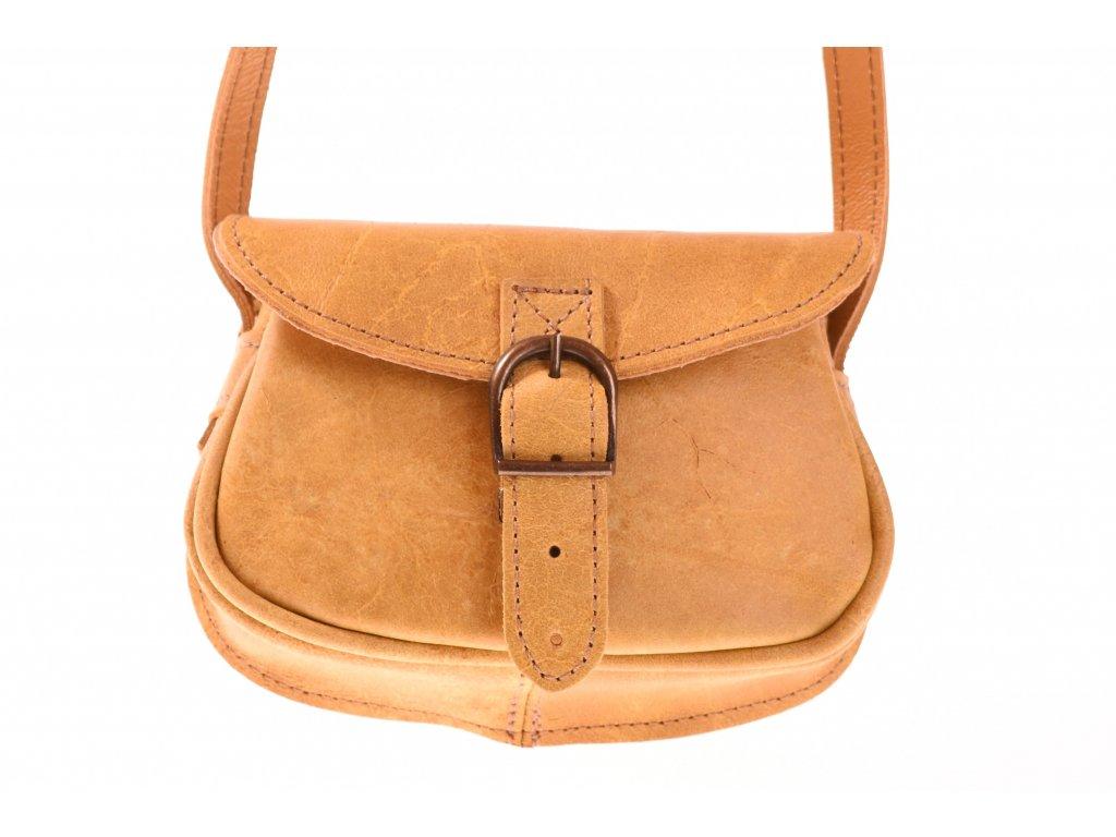 malá žlutá kožená kabelka dámská crossbody český výrobek Kubát 11292