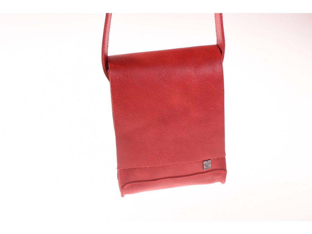 červená kožená kabela mošnička přes rameno český výrobek Kubát 51762 (2)