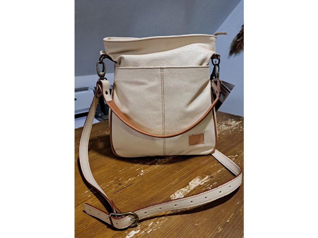 Bílá elegantní kožená kabelka dámská český výrobek Kubát Amálka 57674