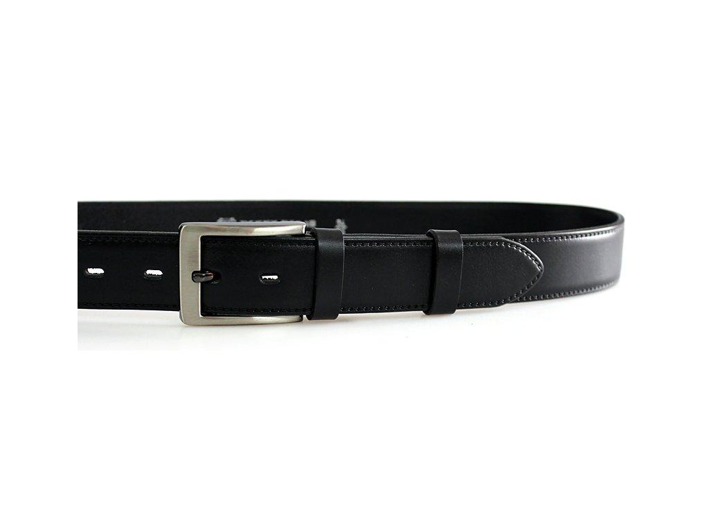 Pánský společenský kožený opasek černý - 60035-020-4