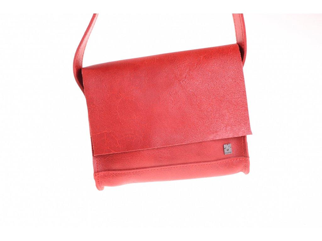 červená kožená kabela mošnička přes rameno český výrobek Kubát 51662