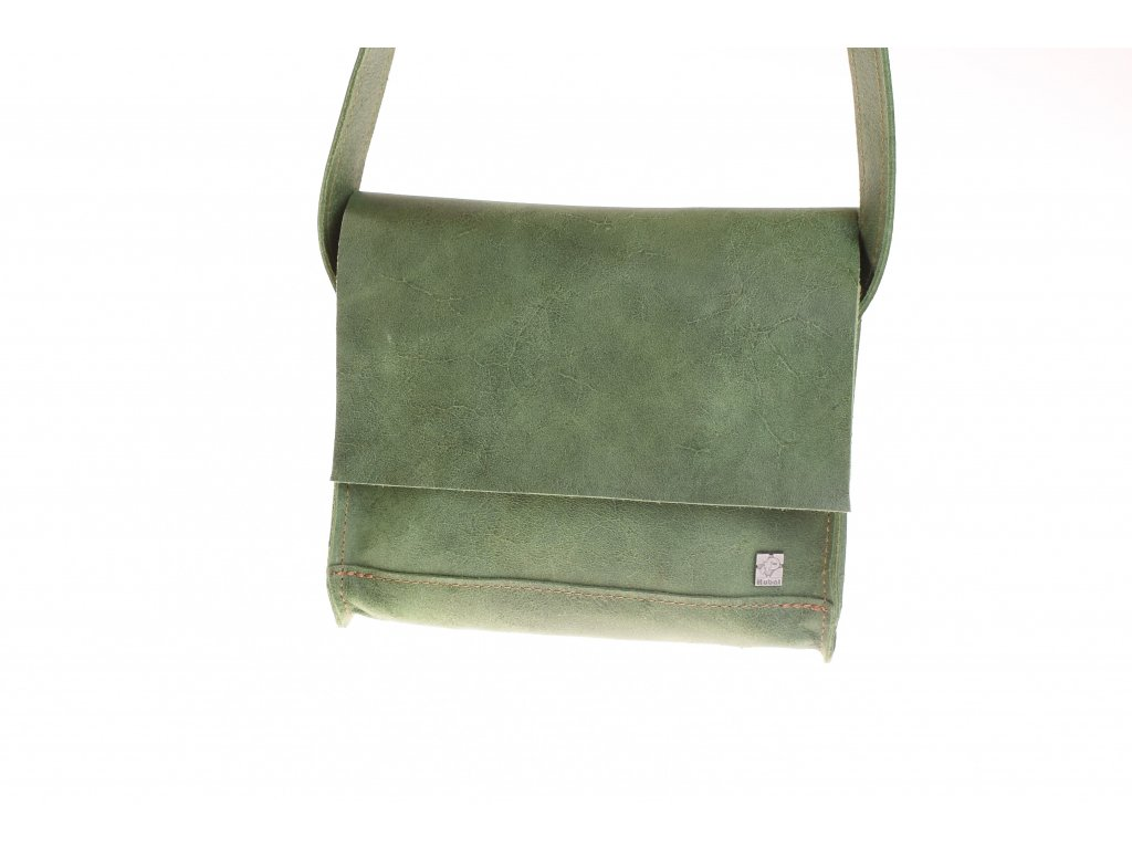 zelená kožená kabela mošnička přes rameno český výrobek Kubát 51682