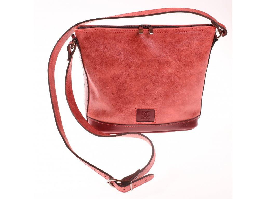 kožená kabelka hnědá červená český výrobek Kubát 17262 (5)