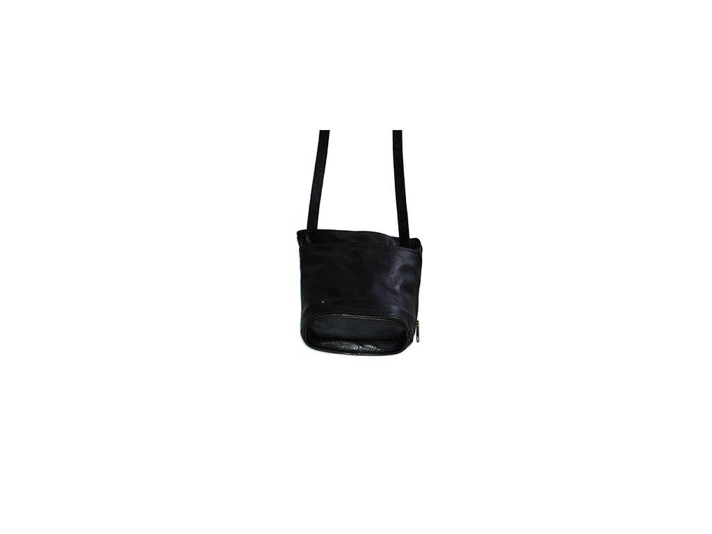 malá černá kabelka kožená s kapsami dámská český výrobek Kubát 14514
