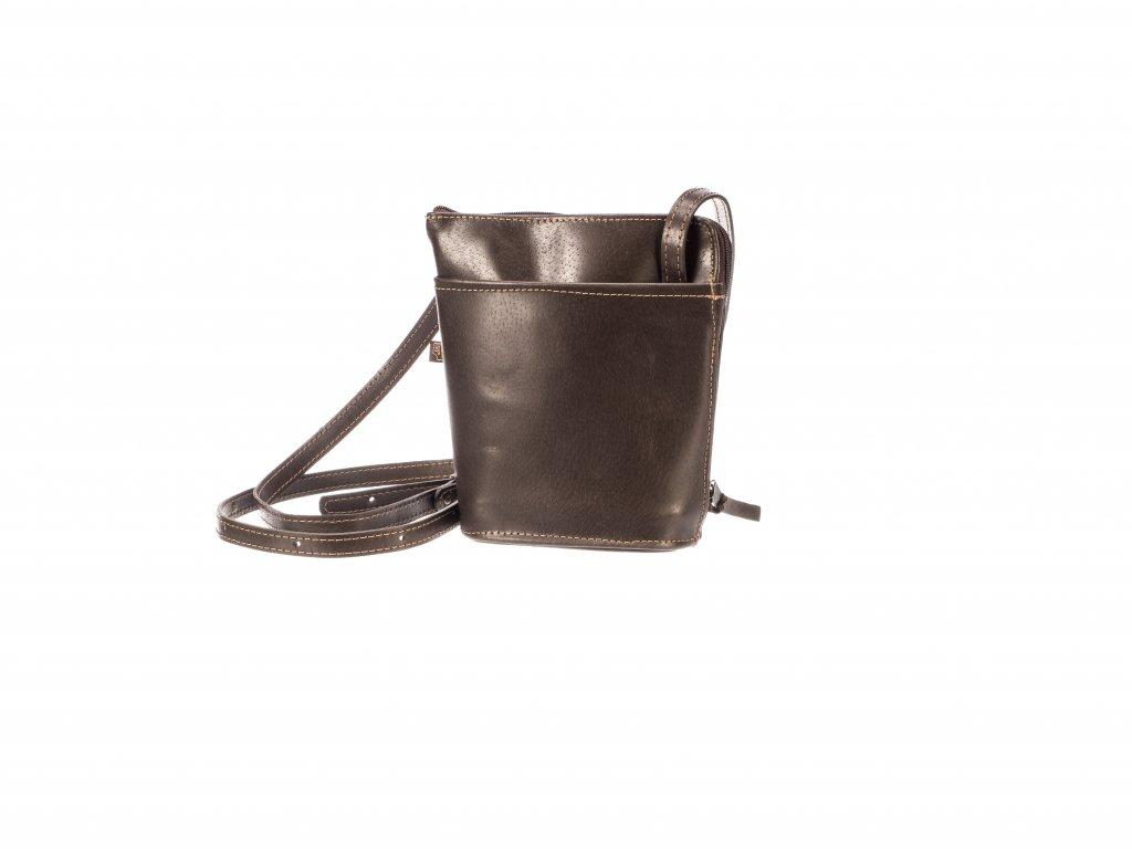 malá hnědá kabelka kožená s kapsami dámská český výrobek Kubát 14524