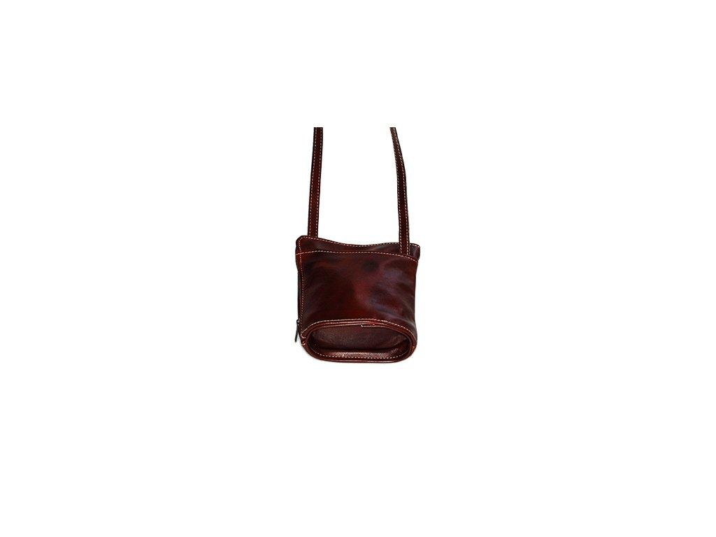 malá hnědá kabelka kožená s kapsami dámská český výrobek Kubát 14542