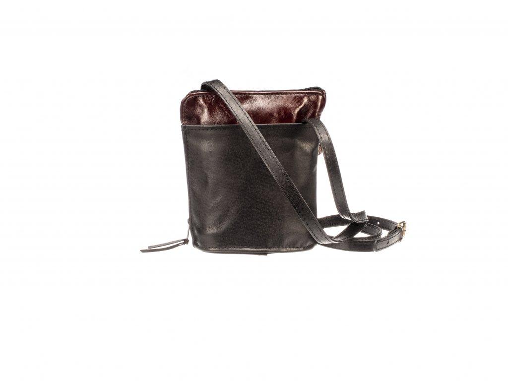 malá černá kabelka kožená s kapsami dámská český výrobek Kubát 145414