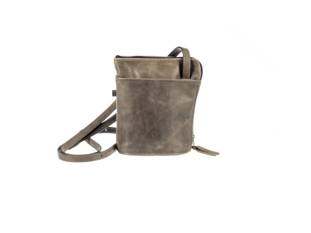 malá hnědá kabelka kožená s kapsami dámská český výrobek Kubát 14582