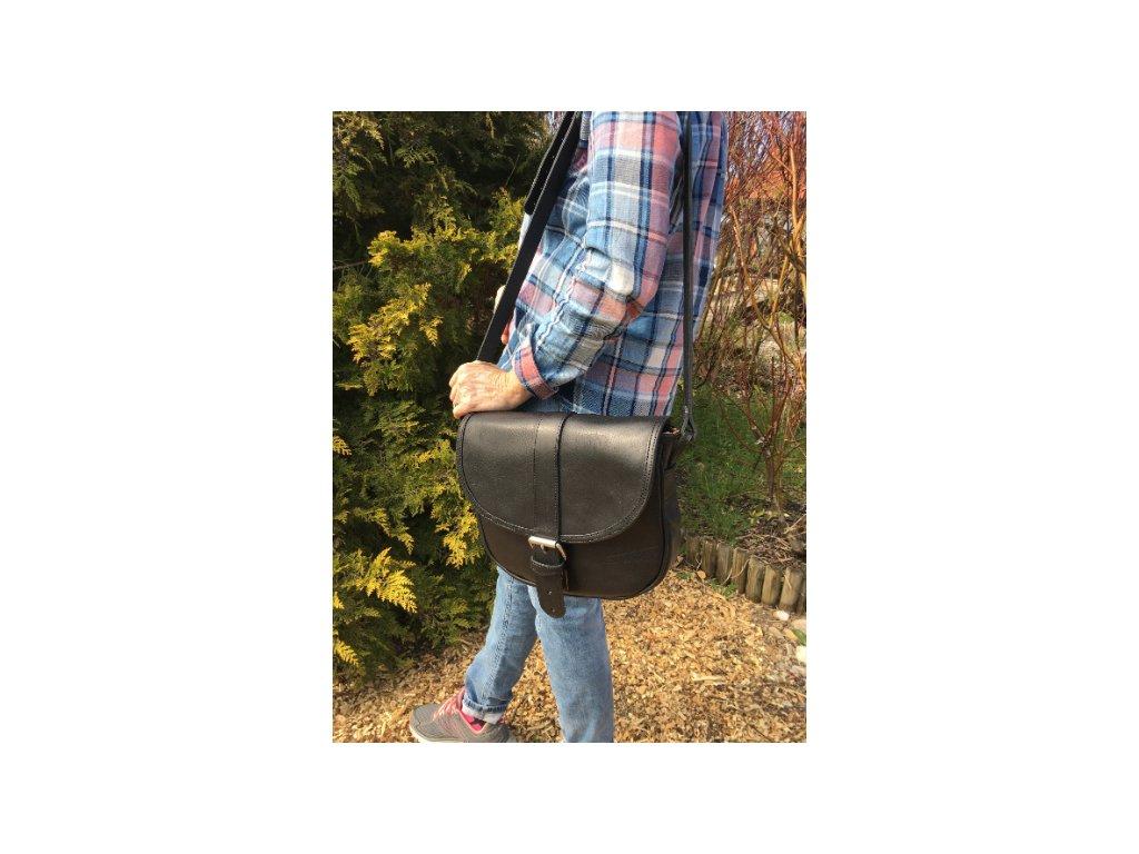 černá kožená kabelka dámská český výrobek Kubát 10812