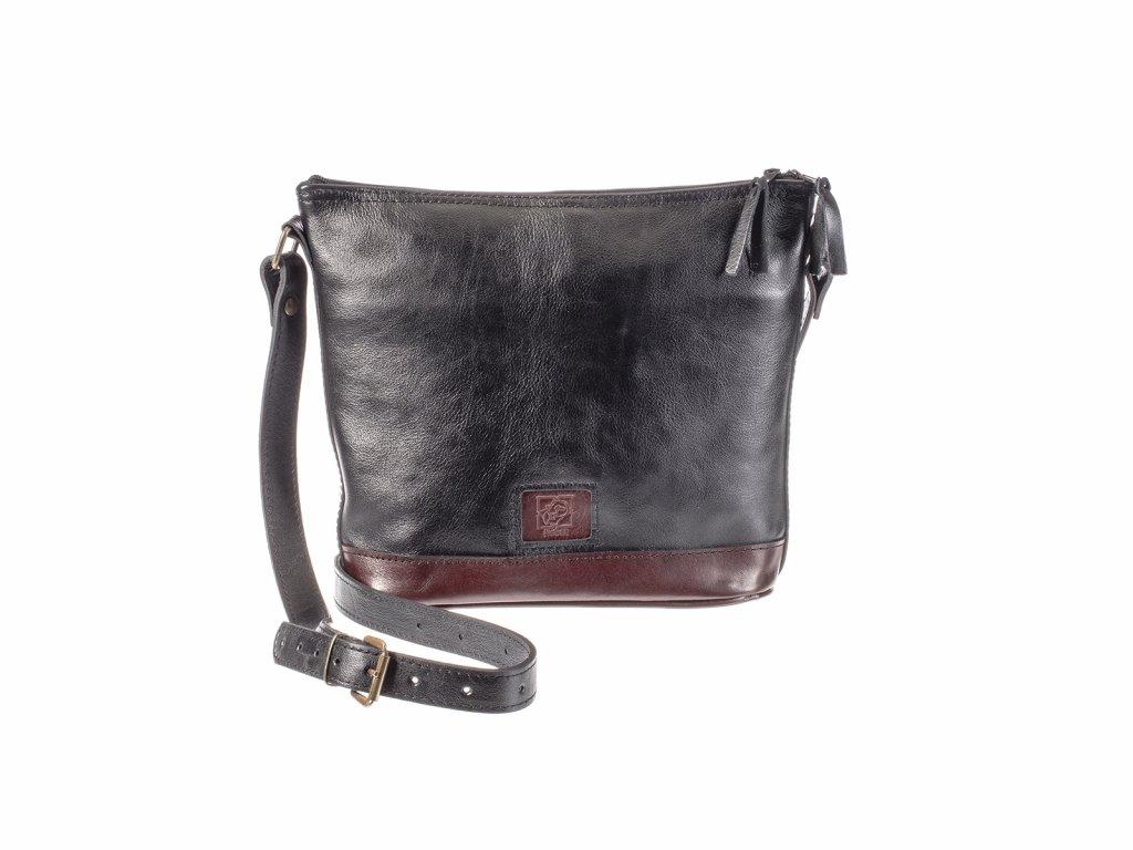 kožená kabelka černá koňaková český výrobek Kubát 172412