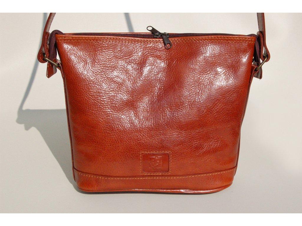 kožená kabelka hnědá koňaková český výrobek Kubát 17252