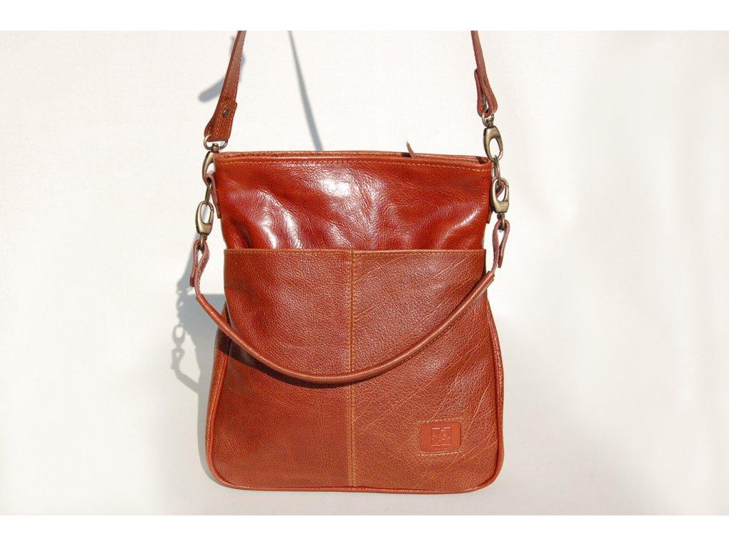 rezavohnědá elegantní kožená kabelka dámská český výrobek Kubát 576542