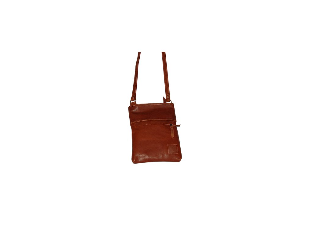 malá hnědá koňaková kožená kabelka dámská crossbody univerzální Heliman český výrobek Kubát 56944