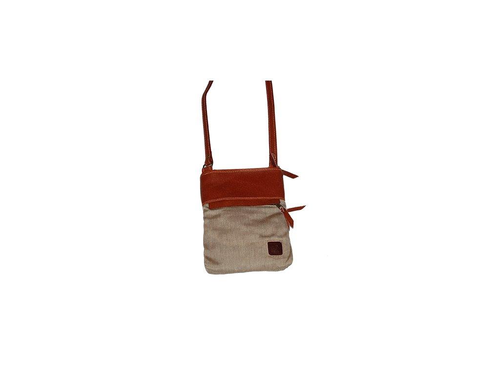 malá koňaková béžová kožená kabelka dámská crossbody univerzální Heliman český výrobek Kubát 569496
