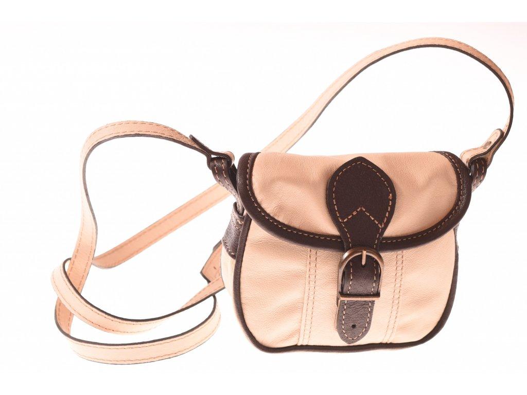 malá hnědá béžová kožená kabelka dámská crossbody český výrobek Kubát 101391 (6)