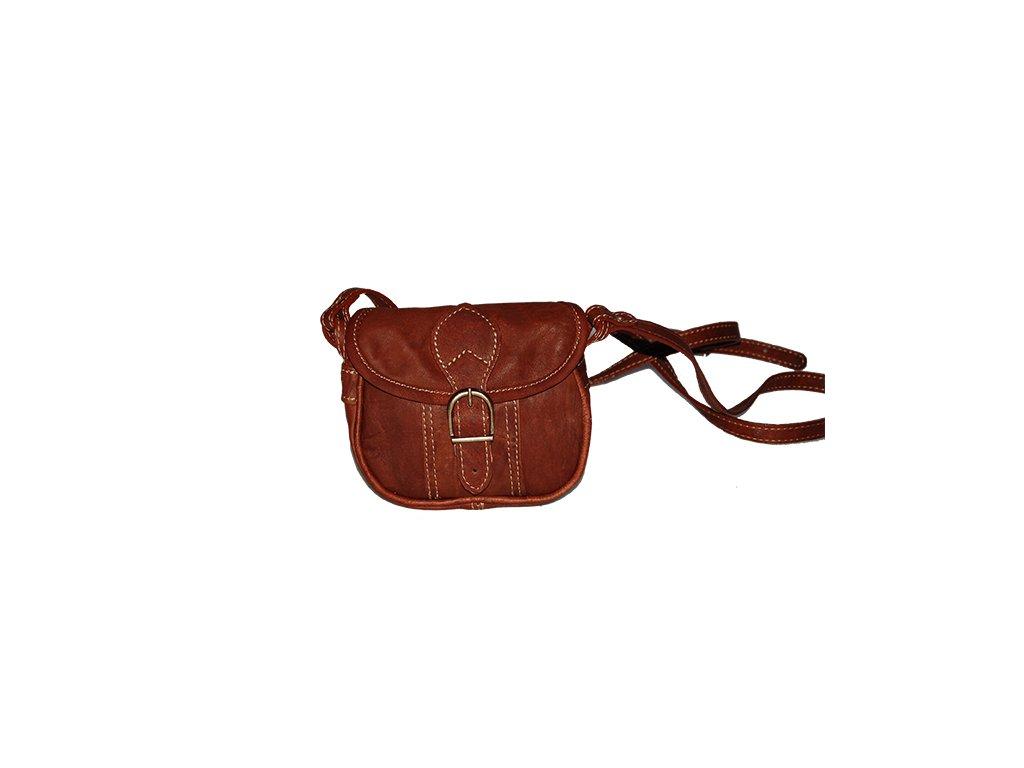 malá hnědá koňaková kožená kabelka dámská crossbody český výrobek Kubát 10143