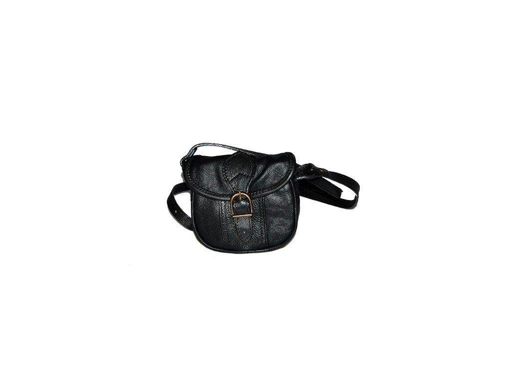 malá černá kožená kabelka dámská crossbody český výrobek Kubát 10112