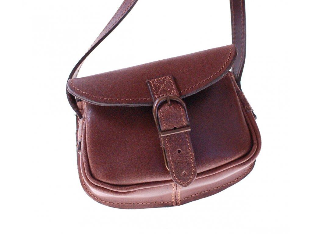 malá hnědá kožená kabelka dámská crossbody český výrobek Kubát 11232
