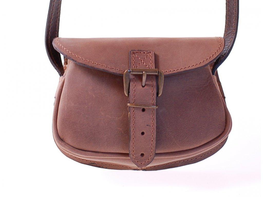 malá hnědá kožená kabelka dámská crossbody český výrobek Kubát 112332