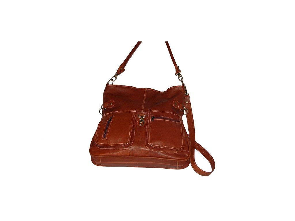 hnědá koňaková kožená kabelka dámská prostorná český výrobek Kubát 55244