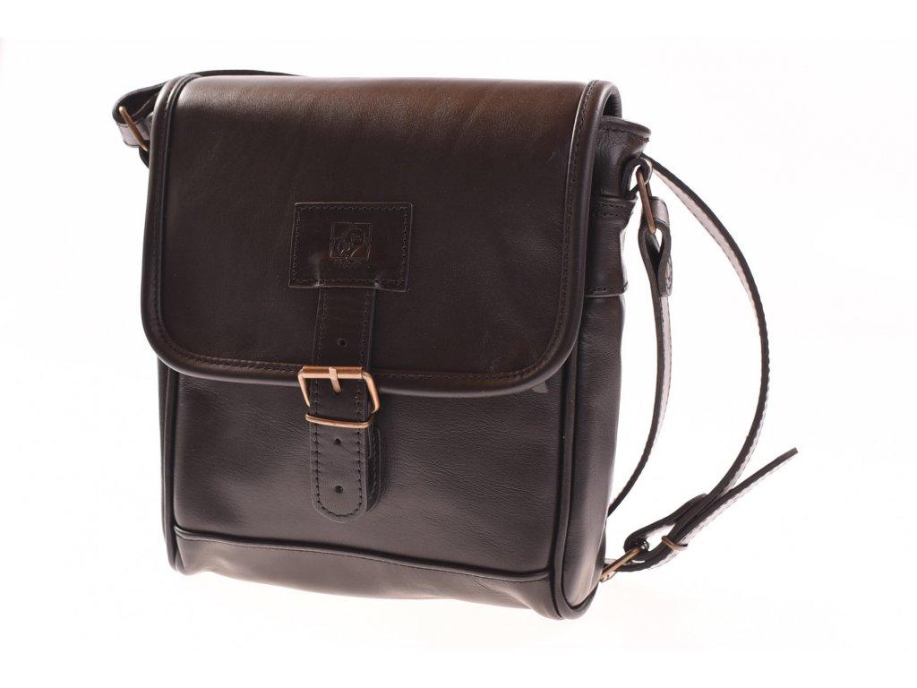 pánská černá kožená brašna taška přes rameno český výrobek Kubát 57312