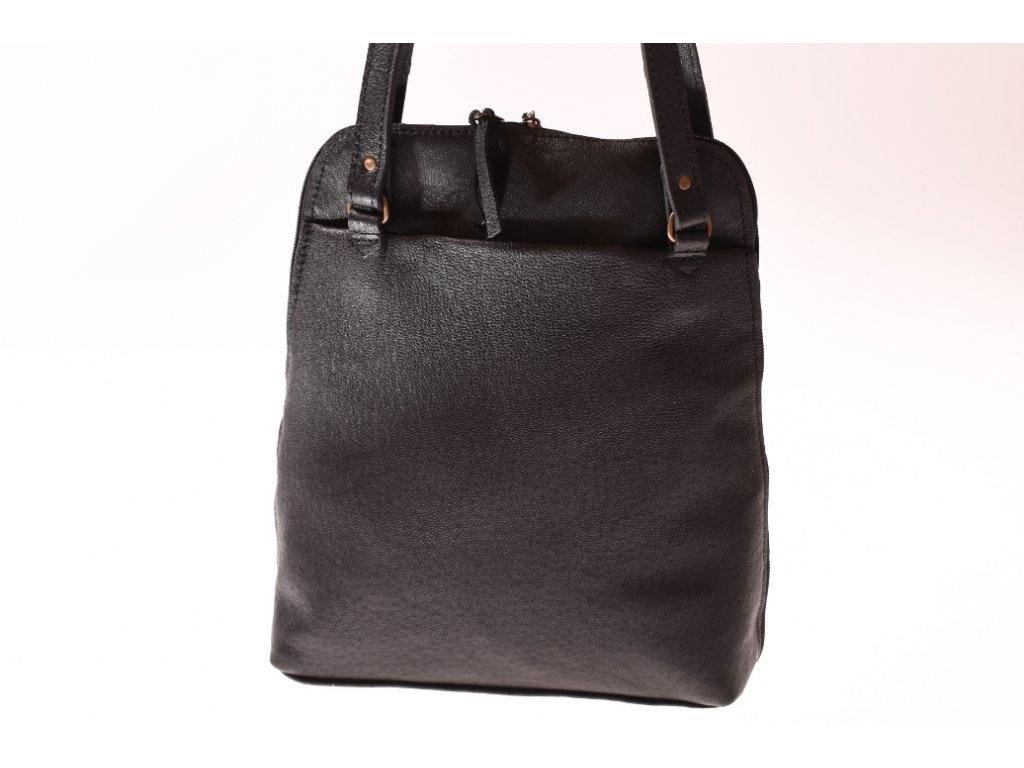 černý dámský kožený batoh nebo kabelka v 1 český výrobek Kubát 21314