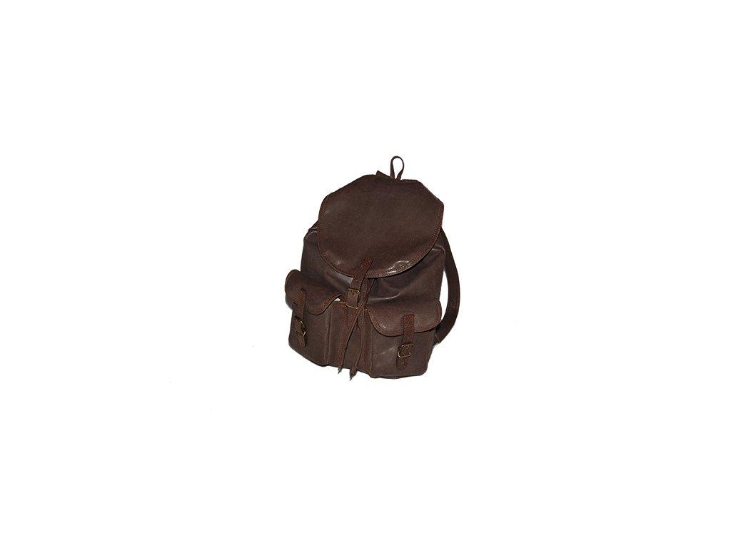hnědý kožený batoh unisex vepřová štípenka český výrobek Kubát 201281