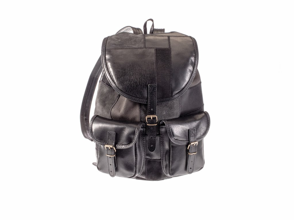 černý dámský pánský kožený batoh sešívané kousky kůže český výrobek Kubát 201171