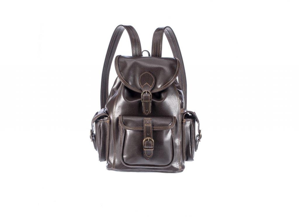 hnědý kožený batoh unisex tři kapsy český výrobek Kubát Speciál 20521