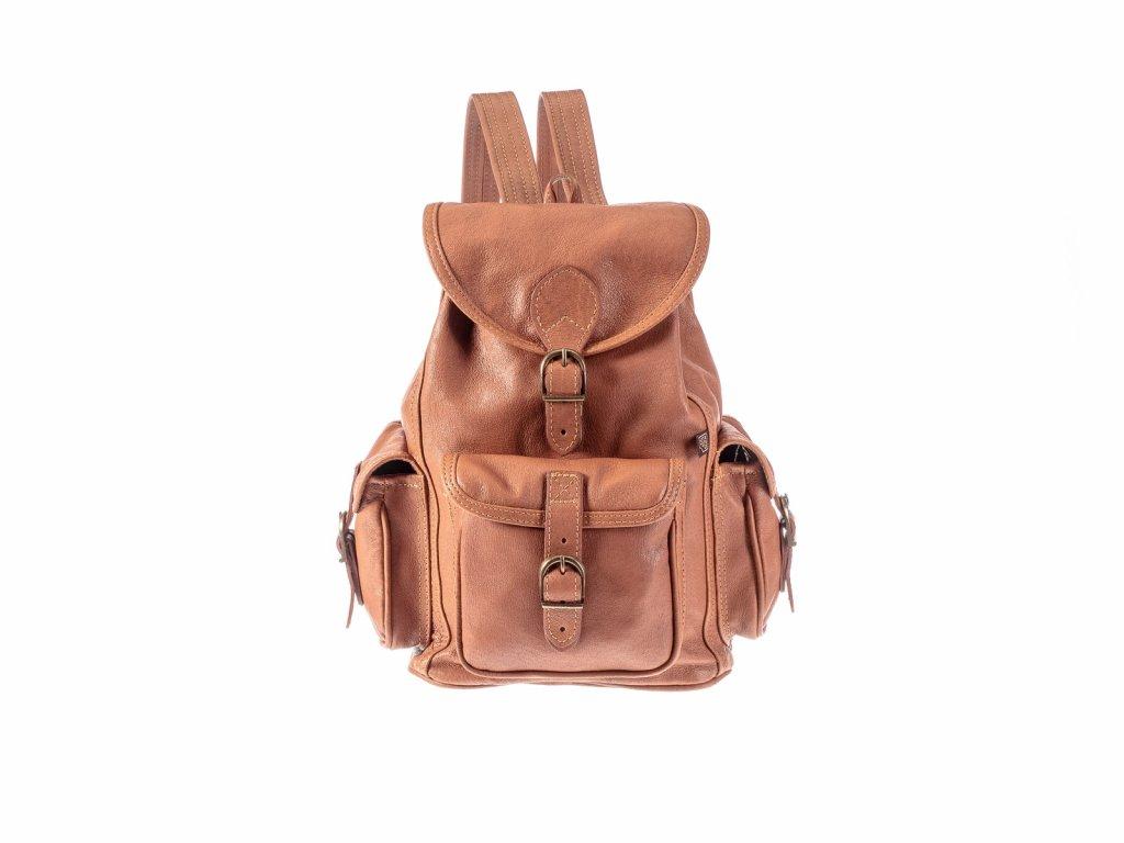hnědý kožený batoh unisex tři kapsy český výrobek Kubát Speciál 20541