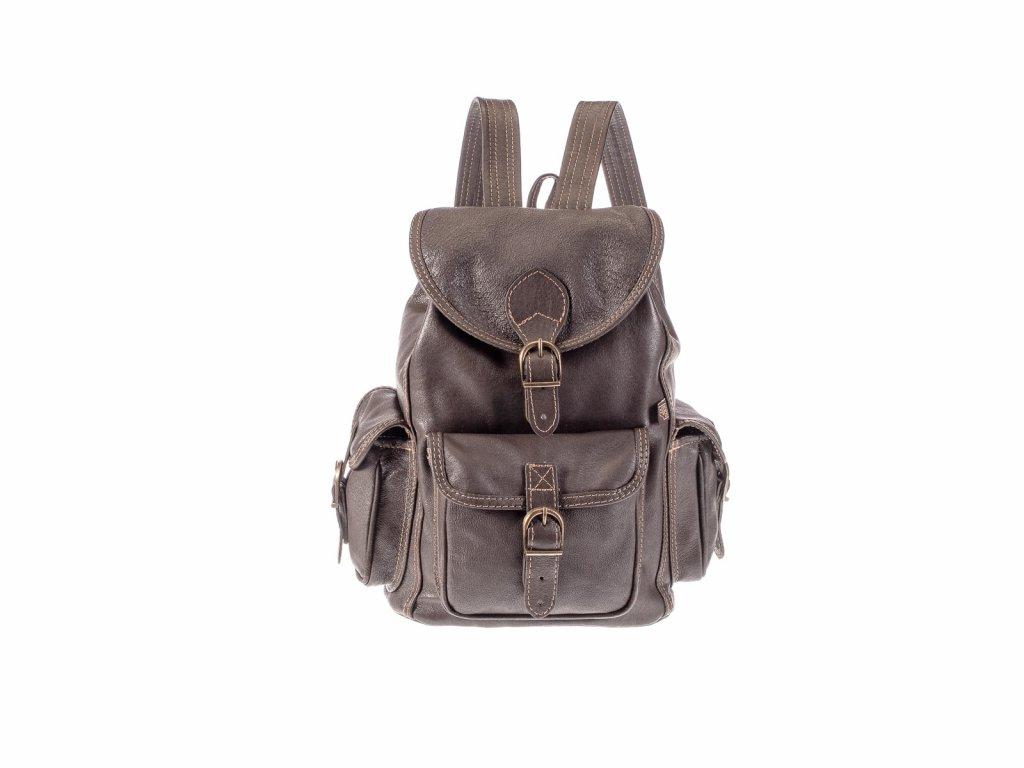 hnědý kožený batoh unisex tři kapsy český výrobek Kubát Speciál 20531