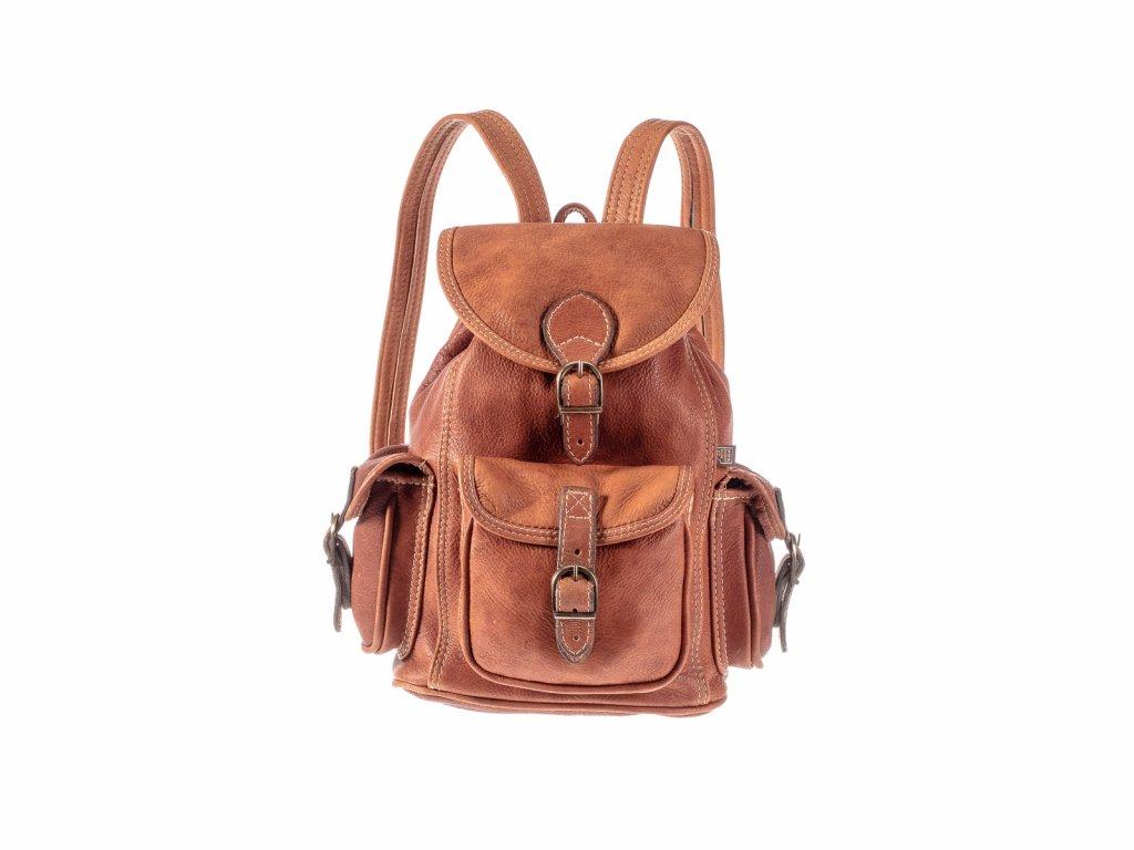 hnědý kožený batoh z jelenice unisex tři kapsy český výrobek Kubát Speciál 20543