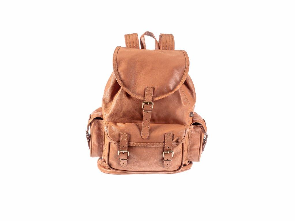 velký rezavohnědý kožený batoh víceúčelový český výrobek Kubát 20451
