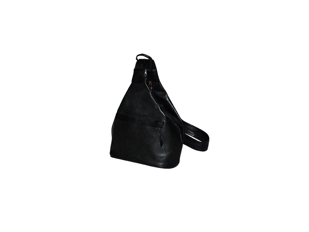 malý dámský černý kožený vak Gábina kabelka přes rameno český výrobek Kubát 20911