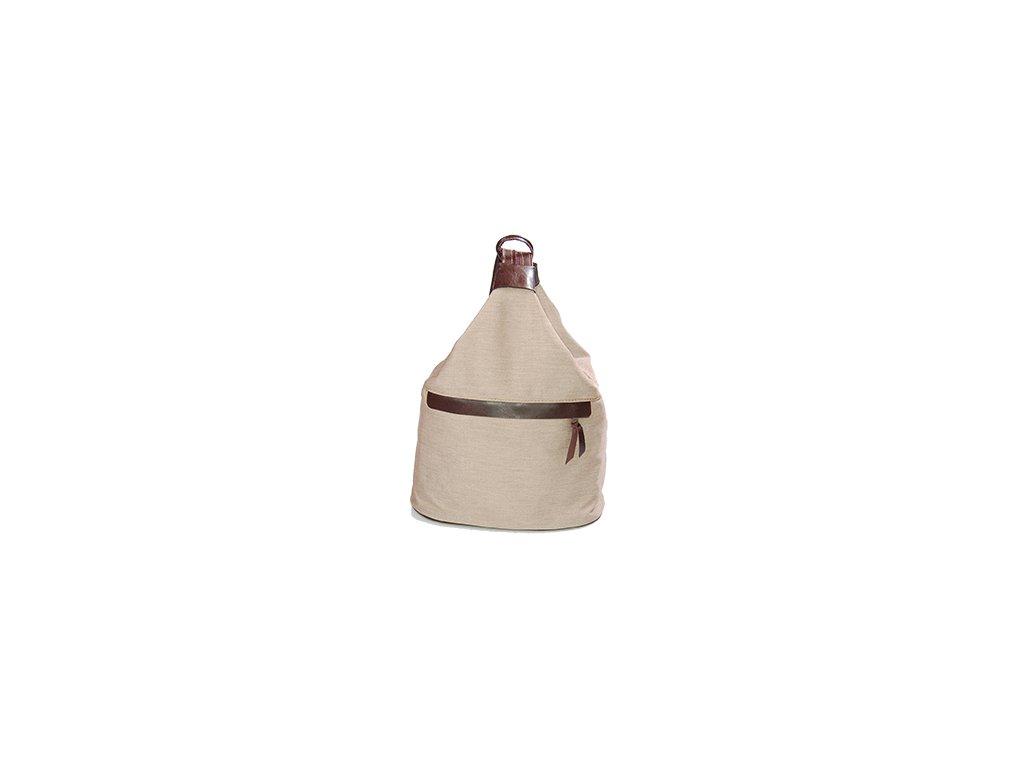 velký dámský kožený hnědo-béžový kombinovaný vak Gábina kabelka přes rameno český výrobek Kubát 210396