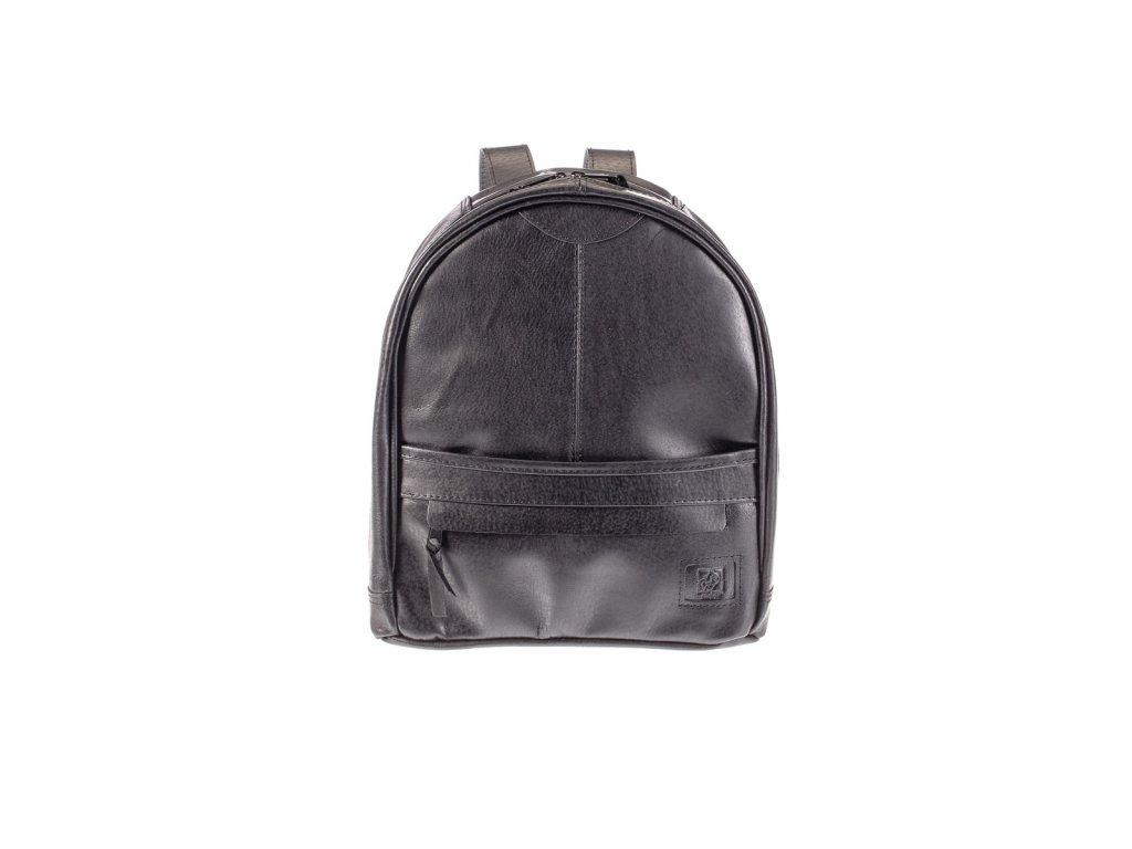 městský černý kožený batoh na zip český výrobek Kubát 21114