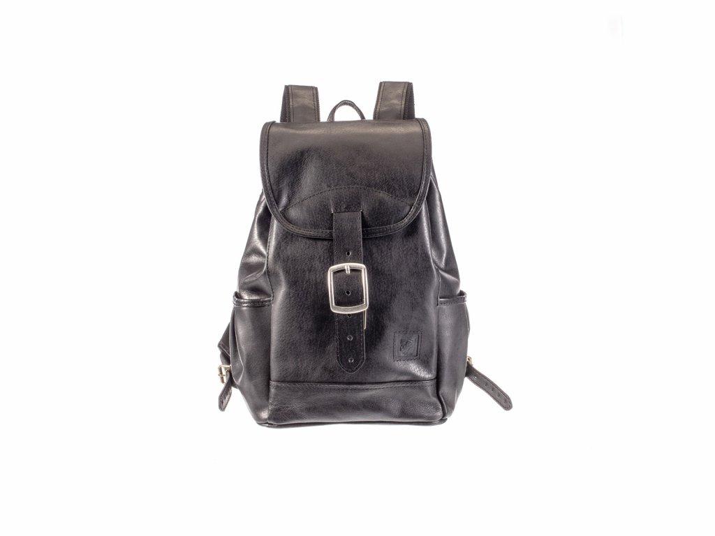 velký černý kožený batoh kapsy na lahev český výrobek Kubát 21214