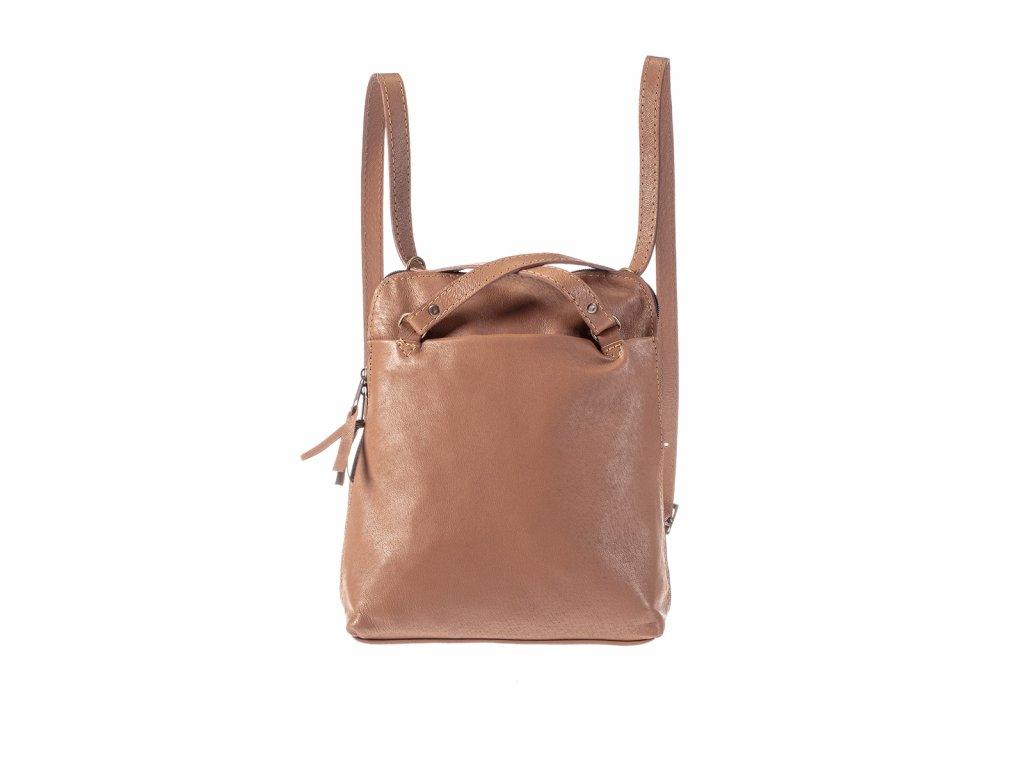 koňakový dámský kožený batoh nebo kabelka v 1 český výrobek Kubát 21344