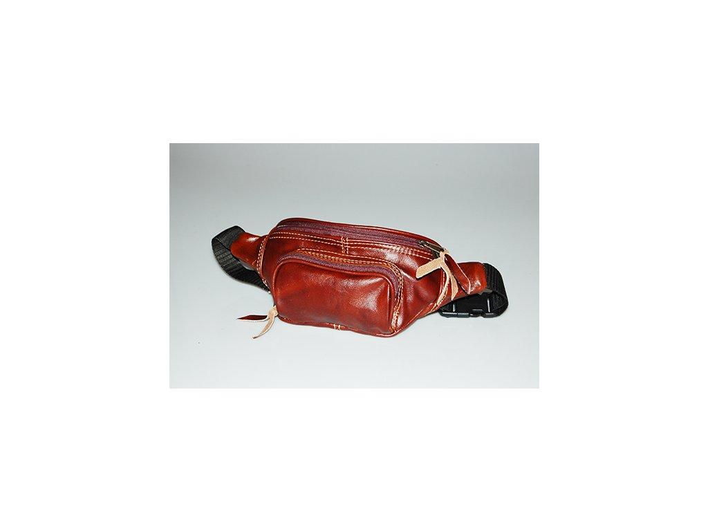 hnědá kožená ledvinka z přírodní kůže český výrobek Kubát 31042