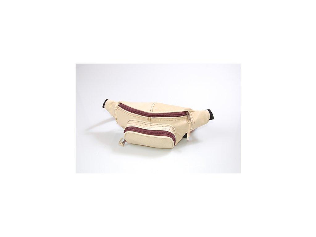 hnědo-žlutá kožená ledvinka z přírodní kůže český výrobek Kubát 31091