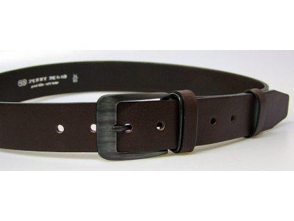 pánský hnědý kožený opasek český výrobek Kubát 60032 2-PR1-40
