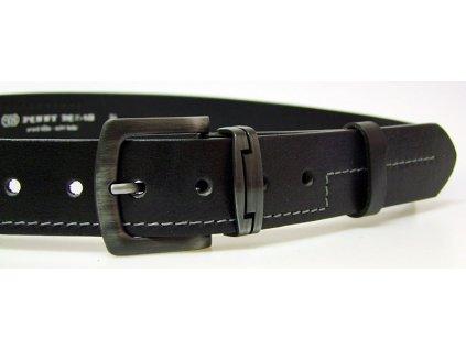 pánský černý kožený opasek český výrobek Kubát 60012- 9-4-60