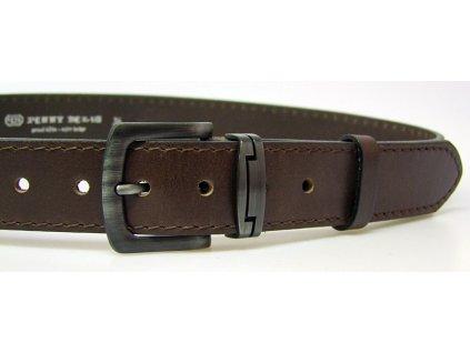 pánský hnědý kožený opasek český výrobek Kubát 60032- 1-4-40